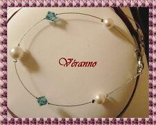 Bracelet étincelle blanc et bleu, bijoux mariage.