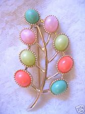 Vintage Sarah Cov Pastel Candy Land Leaf Pin Brooch