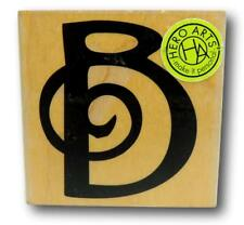 Hero Arts Uppercase SWIRL B Initial Letter Wood Mounted Rubber Stamp F6024