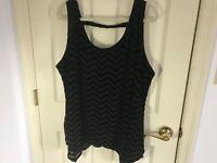 Woman's Lane Bryant plus size 22-24 black sleeveless asymmetrical lined top