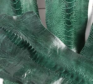 Ostrich Legs Leather Sea Green Color G.A (%100 Genuine Ostrich Leather)
