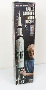Vtg 1969 Revell Apollo Saturn V Moon Rocket 1/96 Scale w BOX - Partially Built