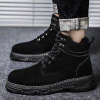 Mens Suede High top Lace up Round toe Winter Ankle Boots Casual Knight Shoes NEW