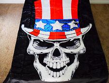 ☀️NEW 5 POUNDS SOFT QUEEN KOREAN MINK BLANKET PATRIOTIC USA SKULL skeleton
