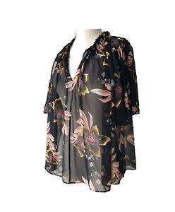 $139 COUNTRY ROAD sheer BLACK floral HIBISCUS georgette BLOUSE 8 top ANGEL slv