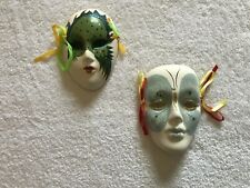 2 Porcelain Drama Clowns Masks Wall Art Hand Painted