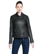 NEW Peuterey Jen Leather Women Moto Jacket Black Size IT 42