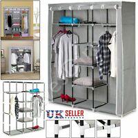 Large Canvas Wardrobe Foldable Clothes STORAGE Cupboard Shelving ORGANIZER See o