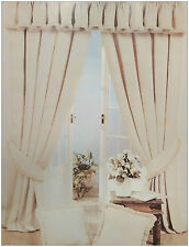 """NATURAL CREAM WHITE 66"""" x 72"""" HEAVY LUXURY READY MADE PENCIL PLEAT CURTAINS"""