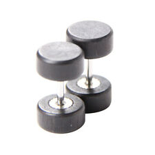 Vintage Wood Stainless Steel Fake Cheater Ear Plugs Barbell Stud Earring Gaurduj Black 8mm