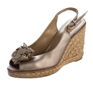 STUART WEITZMAN AUTH $399 Women Metallic Leather Espadrille Wedge Slingback Sz 6