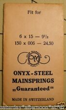 "Vintage NOS PM ONYX-STEEL Watch Mainspring 6 X 15 X 9 1/2"" Metric 150X006X24.50"