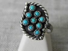 Vintage Turquoise Round Cabochons Sterling Silver Ring 6 - 7