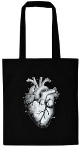 ANATOMICAL HEART BLACK COTTON TOTE BAG VICTORIAN ILLUSTRATION BIOLOGY GOTHIC