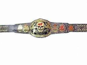 WWF 2mm Brass Snake Skin Leather Stone Gold Smoking Skull Heavyweight Belt