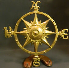 "Vintage Solid Brass Fleur de Lis Compass Face Around a Star 12"" x 12"" Excellent"