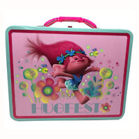 TROLLS PRINCESS POPPY HUGFEST Metal Tin Lunch Box Carry all Storage Case Bag NEW