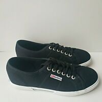 Superga 2950 Cotu Womens Canvas Plimsoll Black Low Top Shoes Trainers 5.5 UK New