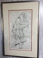 "Chinese Ink Drawing Paper Antique Signed Framed 23x16"" Sword Fighter 1900s"
