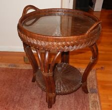 BROWN BENTWOOD WICKER RATTAN BAMBOO CANE REMOVABLE TRAY TOP TEA TABLE W/ GLASS
