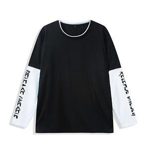 Fashion Mens Patchwork Sleeve T Shirt Long Sleeve Cotton Letter Print Tee Shirt