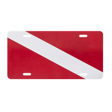 Trident Decorative Metal Vehicle Plate: Diver Down Flag