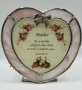 Tealight Candle Holder Heart Shaped Mother Isaiah 66:13 Pink Glass Roses Bow
