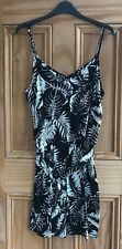 Ladies F& New Black White Floral Belted Elasticated Playsuit Size 8 10 12 22