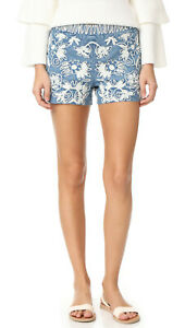 Alice + Olivia Marisa Embroidered Floral Printed Shorts Blue S New 203861 US