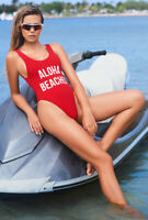 Red get salty one piece high leg monokini