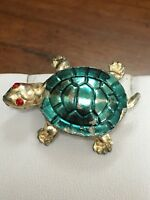 Vintage Silver Turtle Pin Brooch With Red Rhinestone Eyes