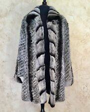 CEDRICS LUXE FUR COLLECTION CHINCHILLA DYED KNIT REX RABBIT REVERSIBLE COAT