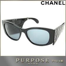bfc8efe5f Óculos De Sol Chanel Cc de Matelassê De Couro Preto Óculos De Plástico