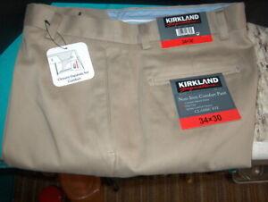 MEN'S KIRKLAND SIGNATURE NON-IRON PANT SIZE 34 X 30 W/CLOSURE EXPAND NEW W/TAGS
