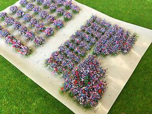 Mixed Blue Garden Flower Static Grass Tufts 4mm -Model Scenery Railway Warhammer