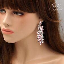 Rhodium Plated Pink Crystal Rhinestone Wedding Drop Dangle Earrings 01393 Party