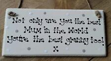 Handmade Shabby Mum Sign Plaque Ideal Gift For Gran Grandma Granny Mum Birthday