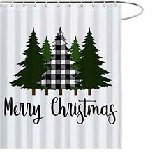 Maezap Christmas Farmhouse Shower Curtain Buffalo Black White Tree Bathroom Dec