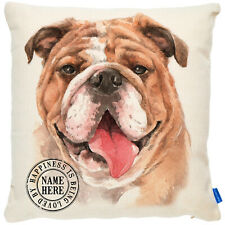 More details for personalised british bulldog cushion cover portrait dog pillow pup gift kdc06