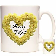 PERSONALISED MUG, Yellow Rose Heart - Any Name , PHOTO and or Any Message