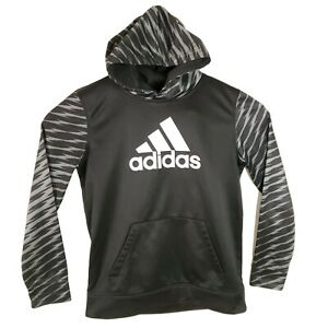 Adidas Hoodie Pullover Youth Boys XL 18 Black Lightning Bold Sleeves Activewear