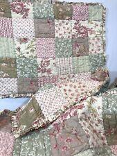 Pottery Barn Cal King Patchwork Ruffled Quilt + 2 Shams Farmhouse Shabby 88X106