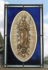 """Antikes Grosses Fensterbild Bleiverglast """" Maria mit Jesuskind """" ca. 40 cm !!!"""