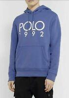Polo Ralph Lauren Men's SZ L Fleece Graphic 1992 Montauk Hoodie Blue White