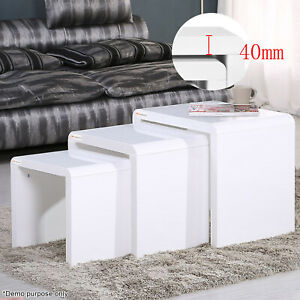 Modern High Gloss White Nest of 3 Coffee Table Side Table
