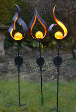 Solar Light - Metal Stake LED Garden Torch Flame Crackle Effect Light Outdoor