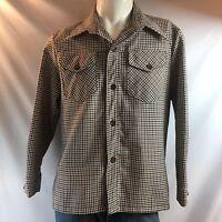 JCPenny Vintage Men's Button Front Plaid Shirt Size Large