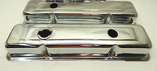 Spectre 5258 SBC Small Chevy Valve Covers Stock Height Chrome Steel OEM 3 Hole