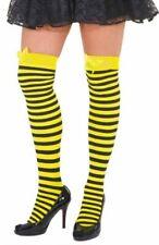 Überknie Strümpfe Biene Strumpf gelb schwarz gestreift Fasching Karneval 5871