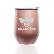 Stemless Wine Tumbler Coffee Travel Mug Glass Cup w/ Lid Queen Bee